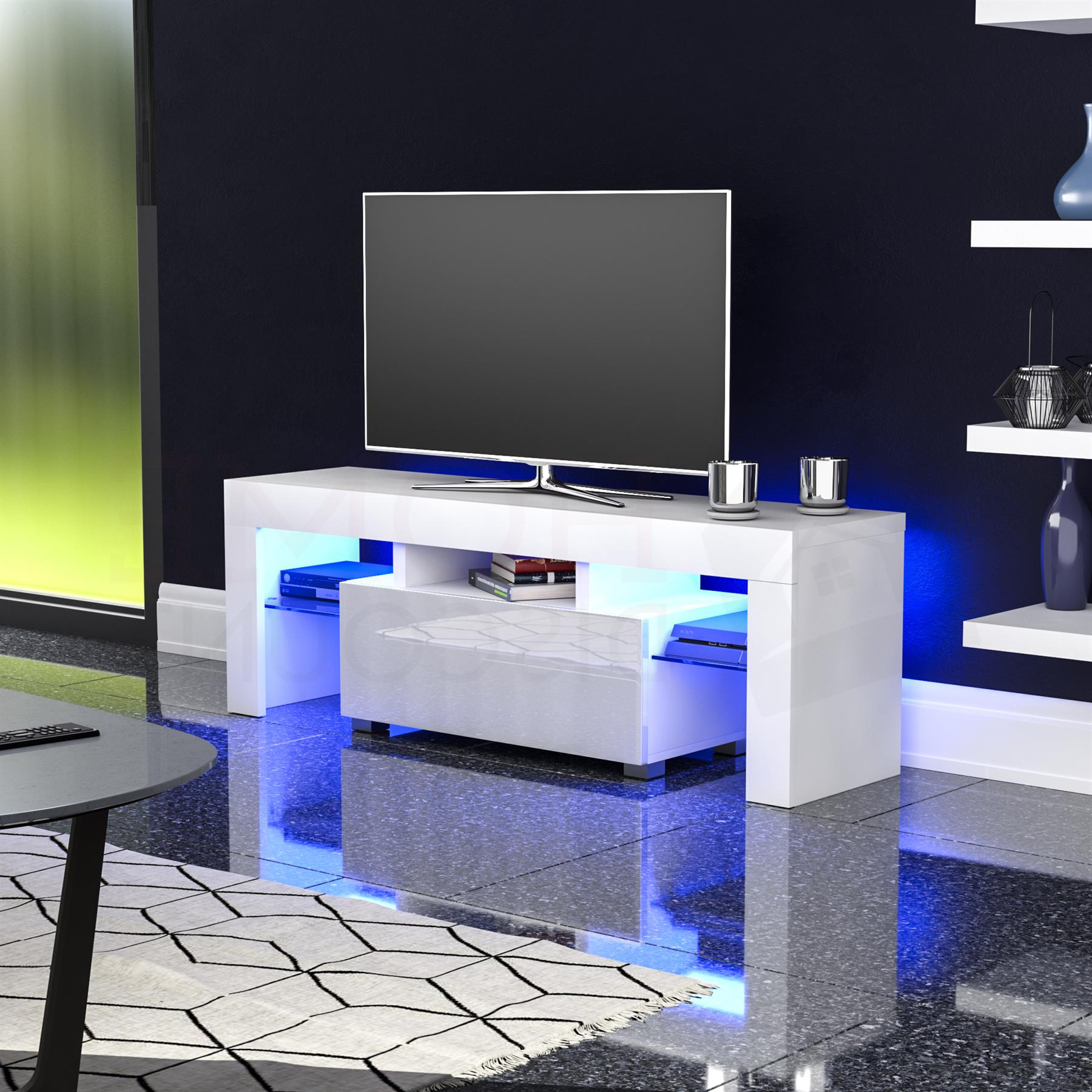 Zimtown Modern Tv Stands High Gloss Media Console Cabinet With Led Shelf And Drawers Regarding Latest Luna Led Tv Stand Cabinet Unit 1 Drawer Modern (View 3 of 10)