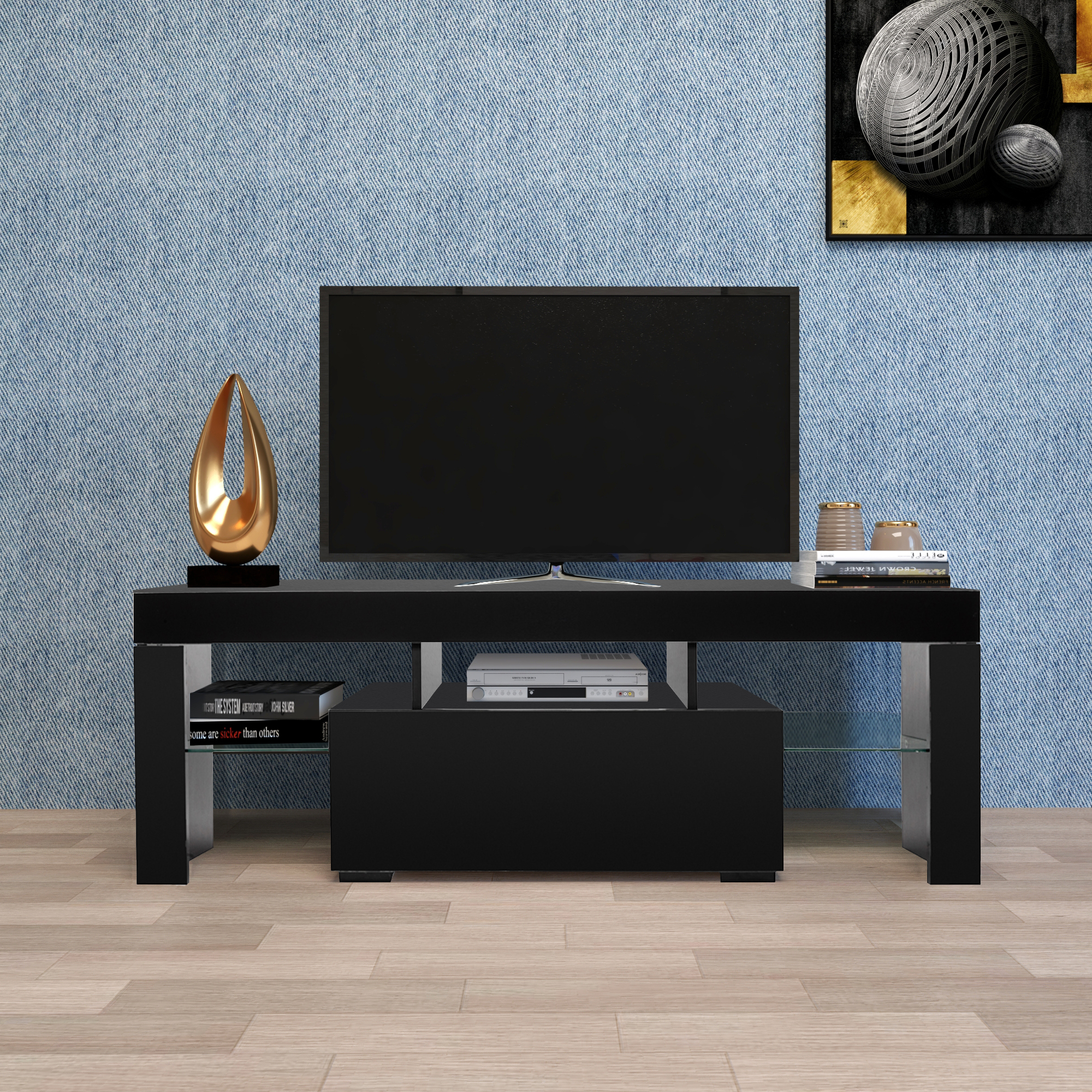 Zimtown Tv Stands With High Gloss Led Lights Intended For Well Known Entertainment Centers And Tv Stands, Yofe Tv Stand With (View 7 of 10)