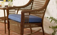 Brown Wicker Patio Rocking Chairs