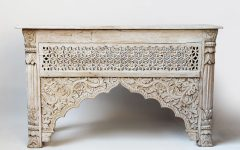 Hand Carved White Wash Console Tables