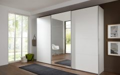 White 3 Door Mirrored Wardrobes
