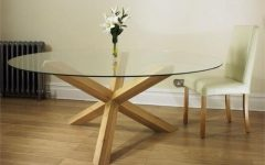 Round Glass And Oak Dining Tables