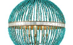 Small Turquoise Beaded Chandeliers