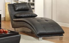 Black Leather Chaise Lounges