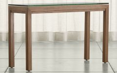 Parsons Clear Glass Top & Elm Base 48x16 Console Tables