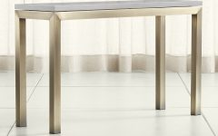 Parsons Grey Solid Surface Top & Brass Base 48X16 Console Tables