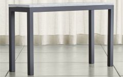 Parsons Grey Marble Top & Dark Steel Base 48x16 Console Tables