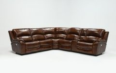 Travis Cognac Leather 6 Piece Power Reclining Sectionals with Power Headrest & Usb