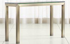 Parsons Clear Glass Top & Brass Base 48x16 Console Tables
