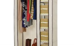Double Canvas Wardrobes Rail Clothes Storage Cupboard