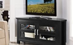 Black Corner Tv Cabinets with Glass Doors
